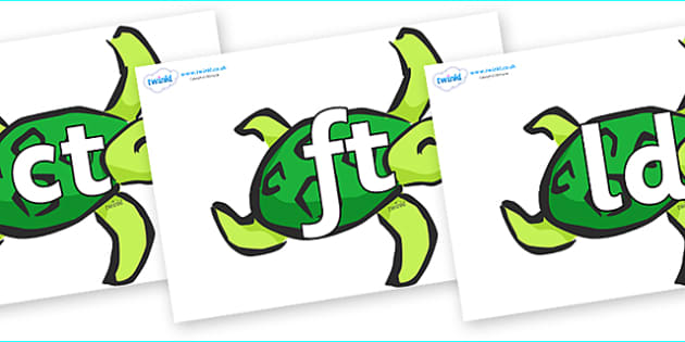 Final Letter Blends on Turtles - Final Letters, final letter, letter blend, letter blends, consonant, consonants, digraph, trigraph, literacy, alphabet, letters, foundation stage literacy