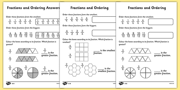 Fractions and Ordering Activity Sheet Differentiated – Fraction Worksheets with Answers