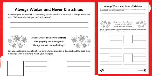Always Winter Creative Writing Activity Sheet - Narnia, literacy, creative writing, describing, phrases, descriptive, creating texts, worksheet, Sco