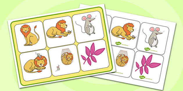 The Lion And The Mouse Matching Mat SEN - Lion, Mouse, SEN, Match