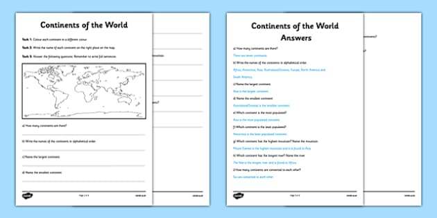 Continents of the World Activity Sheet - continents, activity sheet. comprehension, map, questions, worksheet