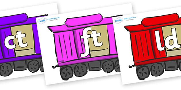 Final Letter Blends on Carriages - Final Letters, final letter, letter blend, letter blends, consonant, consonants, digraph, trigraph, literacy, alphabet, letters, foundation stage literacy