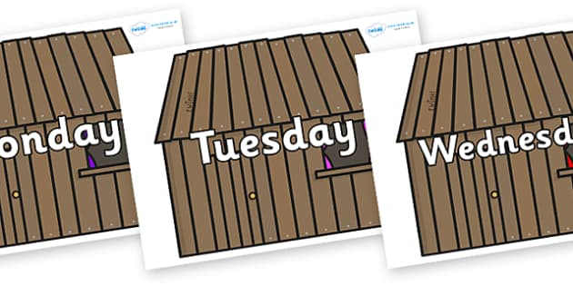 Days of the Week on Wooden houses - Days of the Week, Weeks poster, week, display, poster, frieze, Days, Day, Monday, Tuesday, Wednesday, Thursday, Friday, Saturday, Sunday