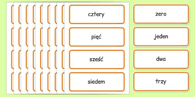 Karty ze słownictwem Liczby 0-100 po polsku - matematyka