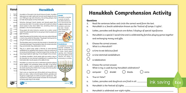 Hanukkah Differentiated Comprehension Challenge Sheet