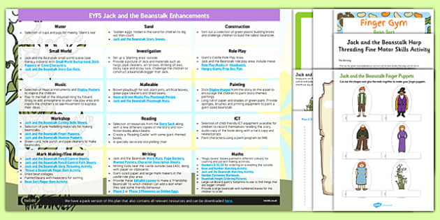 EYFS Jack and the Beanstalk Enhancement Ideas and Resources Pack