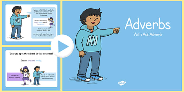 Adverbs PowerPoint - adverbs, powerpoint, presentation, words