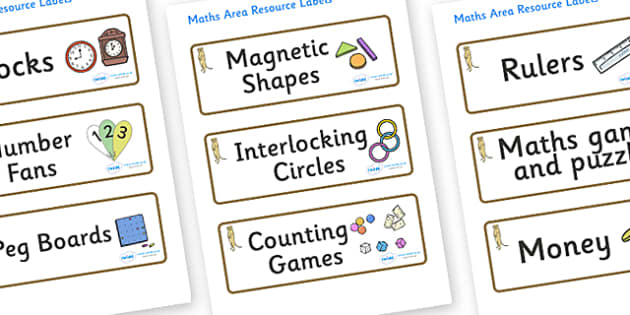 Meerkat Themed Editable Maths Area Resource Labels - Themed maths resource labels, maths area resources, Label template, Resource Label, Name Labels, Editable Labels, Drawer Labels, KS1 Labels, Foundation Labels, Foundation Stage Labels, Teaching Lab