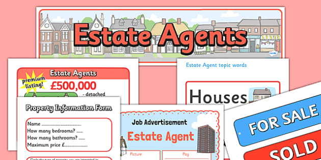 Estate Agents Role Play Pack - Role Play Pack - Estate Agents Role Play Pack, estate agents, for sale, to let, house, properties, apartment, bungalow, cottage, semi-detached, tarraced, role play, display, poster, role play, Display signs, display, la