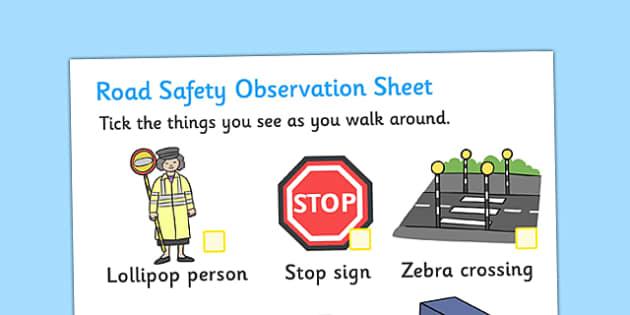 Road Safety Observation Sheets - road safety, observation, sheets, road, safety