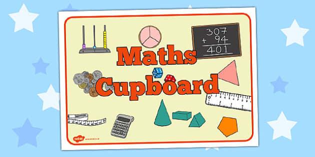 Maths Cupboard Sign - maths cupboard, sign, maths, cupboard