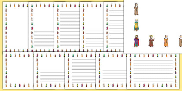 Saint Brigid's Cloak Page Borders - saint brigid, irish history, ireland, saint, patron, lined writing pages