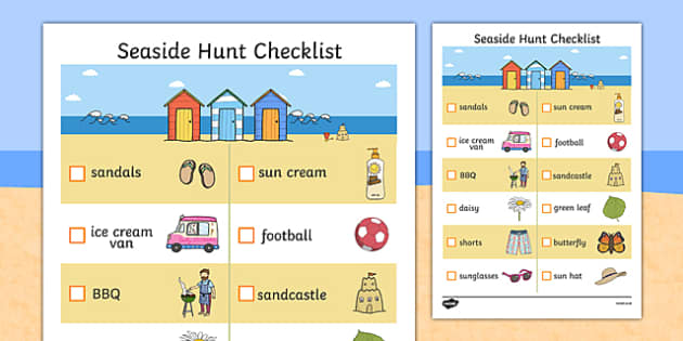 Seaside Hunt Checklist - seaside, seaside checklist, seaside hunt, objects at the seaside, beach, beach hunt, seaside scavanger hunt, seaside worksheet