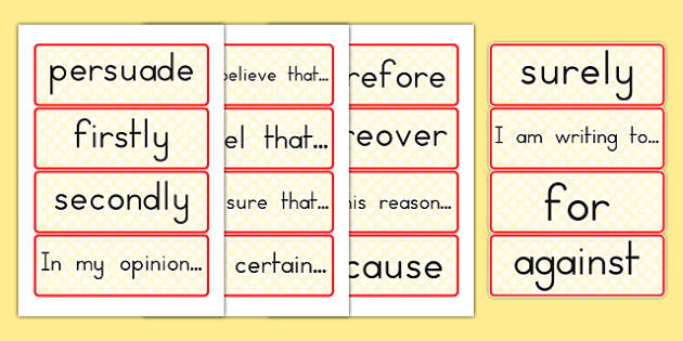 Persuasive Writing Word Cards - australia, word, cards, writing