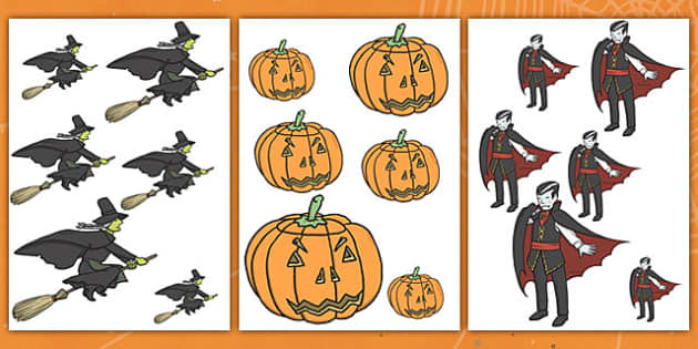 Halloween Size Ordering - halloween, size ordering, size, size ordering activity, size and shape, size arranging, themed size ordering, halloween activites