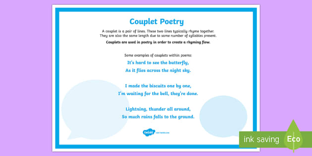 Couplet Poetry A4 Display Poster-Australia - Literacy, Interpreting, analysing, evaluating, english, poetry, writing, poems, poetry, couplets, gl