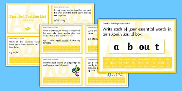 New Zealand Essential Spelling List 3 Challenge Cards