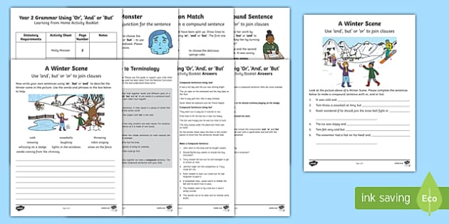 Year 2 Grammar: Using 'Or', 'And' or 'But' Activity Booklet