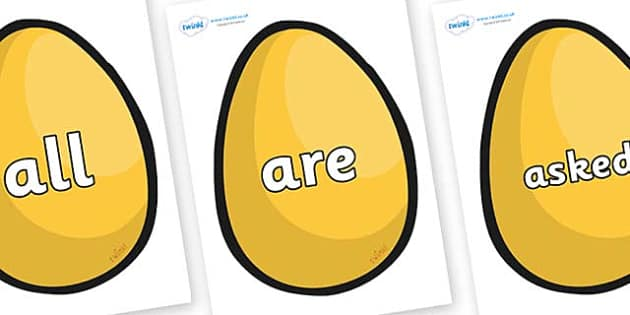 Tricky Words on Golden Egg - Tricky words, DfES Letters and Sounds, Letters and sounds, display, words