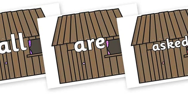 Tricky Words on Wooden Houses - Tricky words, DfES Letters and Sounds, Letters and sounds, display, words