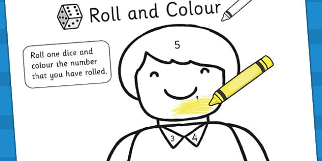 Lego Man Roll and Colour Worksheet - lego, toys, dice games, dice