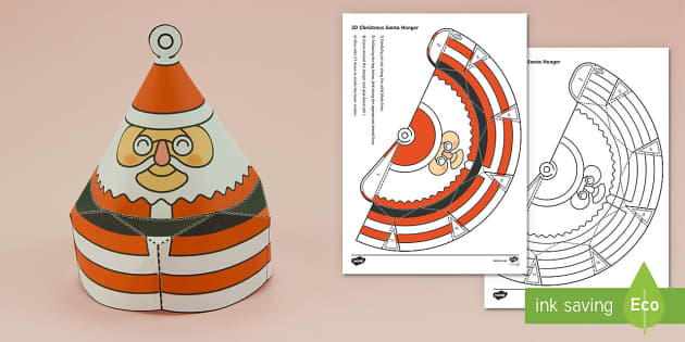 Simple Christmas Hanging Cone Santa Decoration Activity Paper Craft