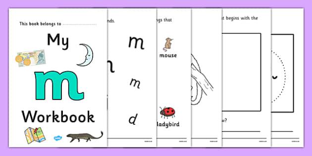 My Workbook m lowercase - workbook, m sound, lowercase, letters, alphabet, activity, handwriting, writing