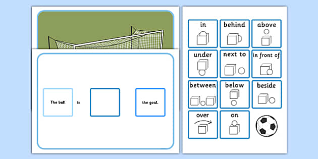 Preposition Football Game - football, sports, PE, games, sport, prepostions