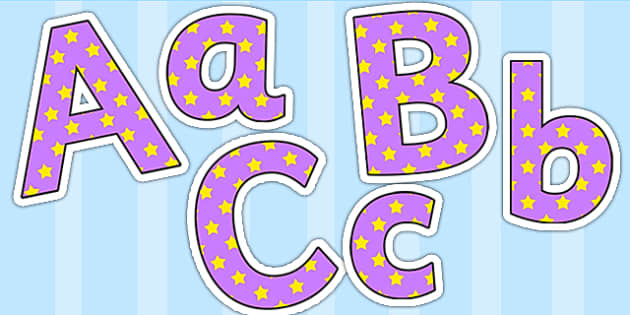 Lilac and Yellow Stars Small Lowercase Display Lettering - stars, display lettering, display letters, lettering, display alphabet, lettering for display