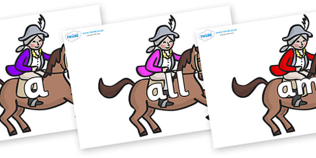 Foundation Stage 2 Keywords on King's Horses - FS2, CLL, keywords, Communication language and literacy,  Display, Key words, high frequency words, foundation stage literacy, DfES Letters and Sounds, Letters and Sounds, spelling