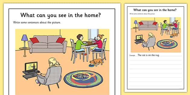 At Home Scene Writing Stimulus Picture Activity Sheet, worksheet