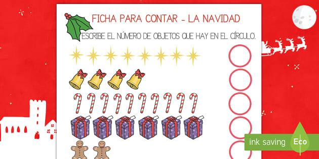Ficha para contar - La Navidad  - navidad, navideño, navideña, contar, números, Spanish