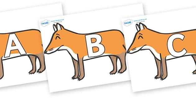 A-Z Alphabet on Foxes - A-Z, A4, display, Alphabet frieze, Display letters, Letter posters, A-Z letters, Alphabet flashcards