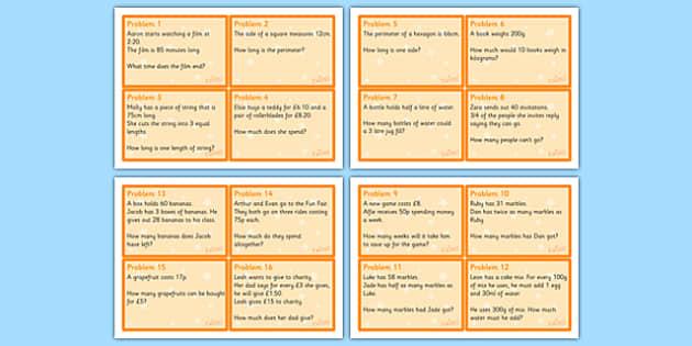 Maths Problem Cards Year 4 - maths problem cards, numeracy problem cards, maths problems, numeracy problems, maths scenarios cards, year 4 scenario cards, year 4 maths cards, year 4 different maths scenarios cards, maths question cards