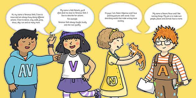 Grammar Gang Character Cut Outs - grammar gang, character, cut outs