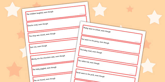 Sentence Starters With Even Though Complete The Sentence Activity
