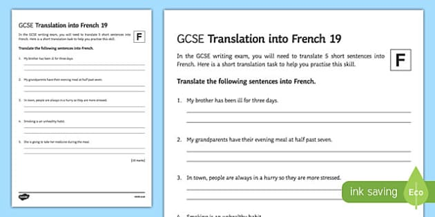 GCSE French: Translation into French - 19 Foundation Tier Activity Sheet, worksheet