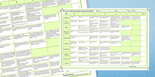 Persuasive Writing Student Assessment Rubric - Persuasive, Rubric, Marking, Asessment, NAPLAN, Australian