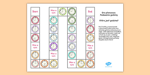 Telling the Time Board Game KS1 O'clock and Half Past Polish - polish, telling the time, board game, ks1, o'clock, half past