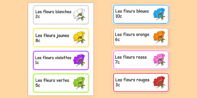Garden Centre Labels Flowers French - french, Display, garden centre, plants, plant, topic, flower, price, price labels, for sale