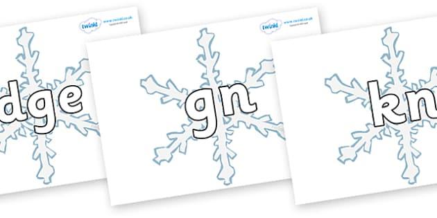 Silent Letters on Snowflakes - Silent Letters, silent letter, letter blend, consonant, consonants, digraph, trigraph, A-Z letters, literacy, alphabet, letters, alternative sounds
