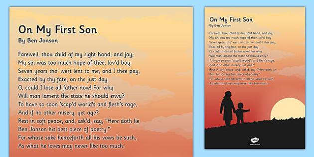 On My First Son' by Ben Jonson Poem Poster - KS2, KS3, Poetry