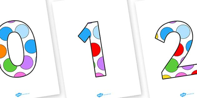 Multicoloured Polkadots Numbers 0 30 - number, number display