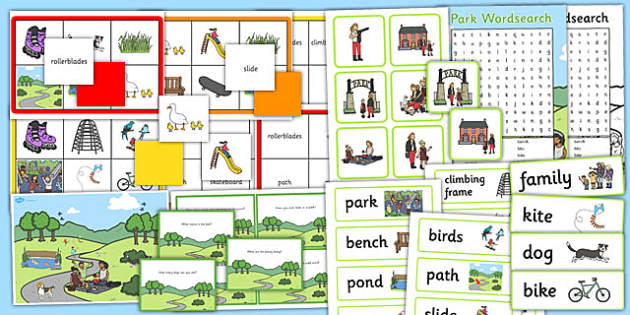Park Vocabulary and Comprehension Pack - pack, park, eal, vocab