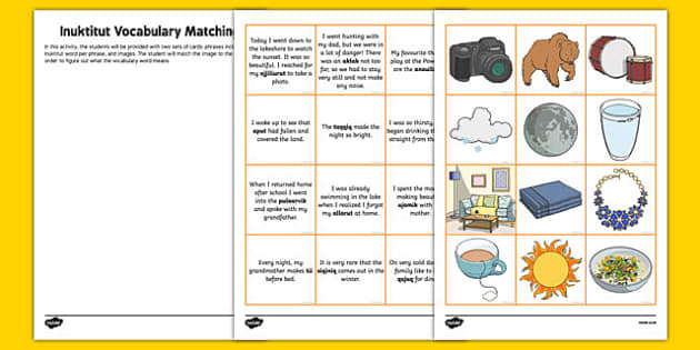 Inuktitut Vocabulary Matching Activity - canada, inuktitut, vocabulary, matching, activity, match