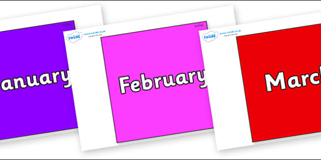 Months of the Year on Squares - Months of the Year, Months poster, Months display, display, poster, frieze, Months, month, January, February, March, April, May, June, July, August, September