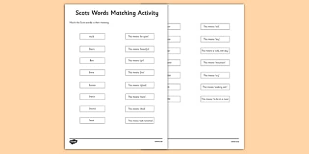 Scots Words Cut and Paste Matching Activity CfE First Level - CfE, Scotland, History, Scots
