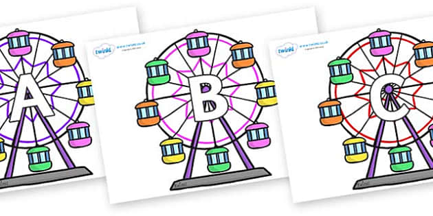 A-Z Alphabet on Ferris Wheels - A-Z, A4, display, Alphabet frieze, Display letters, Letter posters, A-Z letters, Alphabet flashcards