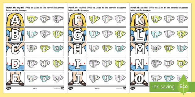 Alice in Wonderland Themed Capital Letter Matching Worksheet