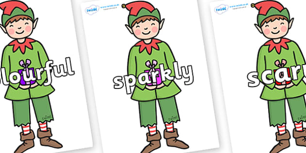 Wow Words on Green Elf (Boy) - Wow words, adjectives, VCOP, describing, Wow, display, poster, wow display, tasty, scary, ugly, beautiful, colourful sharp, bouncy